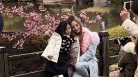 大陸女星李小璐和女兒甜馨在日本賞花。(合成圖/翻攝自微博)