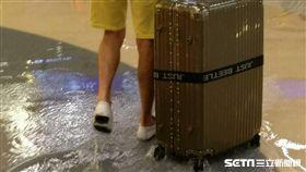 桃機二航廈免稅店積水。旅客水中拉行李箱。