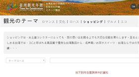 「台灣觀光年曆」每年都花不少製作,但網站內中文版的「購物推薦行程」內容只有1筆,而英、韓、日版的都無資料,讓民進黨立委林俊憲痛批「為何要花百萬元做廢物?」對此,觀光局官員解釋,因為4月會有網站整併,有些內容才還沒呈現。(圖/翻攝自台灣觀光年曆網站)