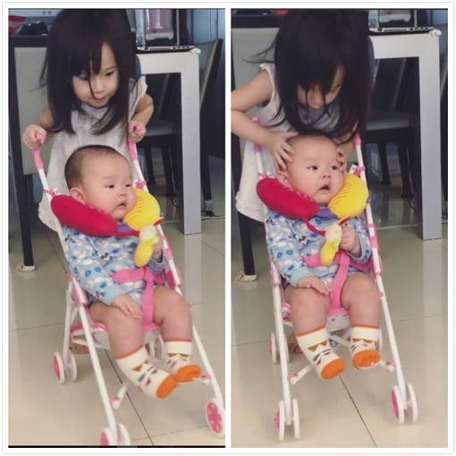 ▲Mia在家也會照顧4個月大的弟弟了。(圖/翻攝自臉書)