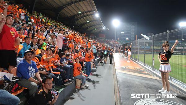 台南球場擠進7880球迷觀賞統一首戰。(圖/記者王怡翔攝)