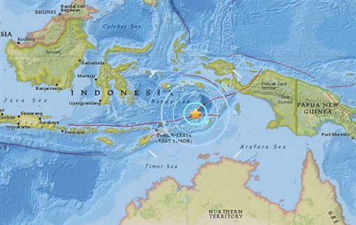 印尼東部塔寧巴群島外海産生範圍6.4地震。(圖/翻攝Twitter)