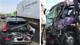 VOLVO遭大貨車追撞 結果讓網友暴動了(圖/翻攝爆費公社臉書)