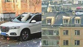 冰塊,太陽能,熱水器,漏水,大陸,吉林,擋風玻璃,SUV,賠償,大樓,屋頂,屋簷 圖/翻攝自微博
