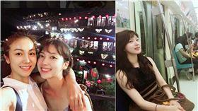 南韓演員金玉彬和蔡舒辰來台旅遊。(合成圖/翻攝自IG)