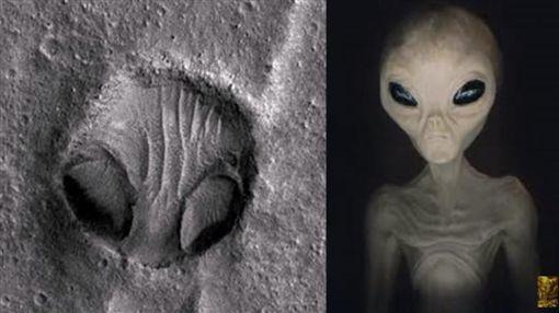 火星表面照,隕石坑洞,外星人臉(圖/翻攝自YouTube)