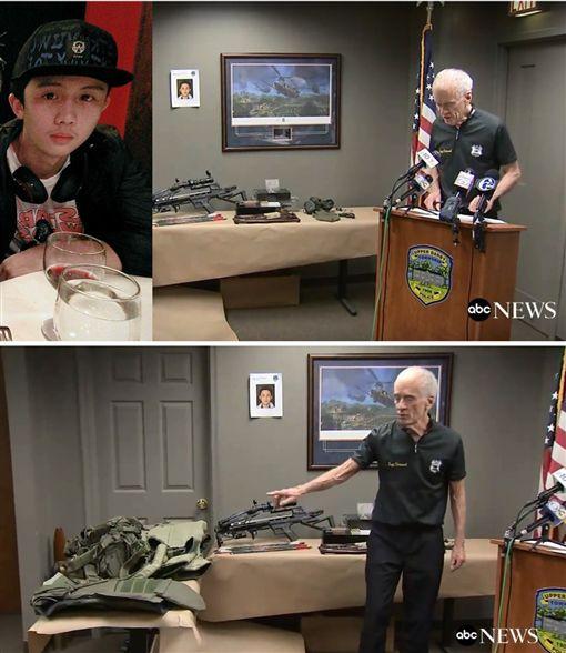 美國費城警方在孫安佐(孫華)房間搜到很多軍事用品。(合成圖/翻攝自YouTube、臉書)