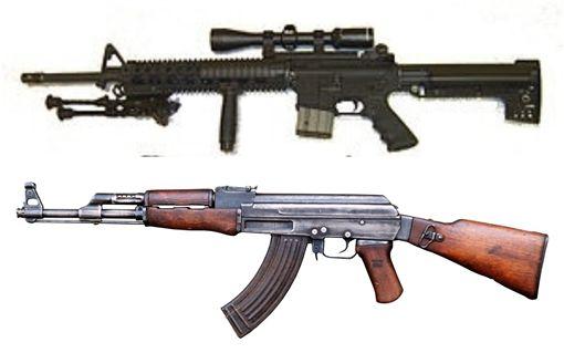 狄鶯兒子孫安佐上網查AR-15和AK-47兩種步槍(翻攝自維基百科)