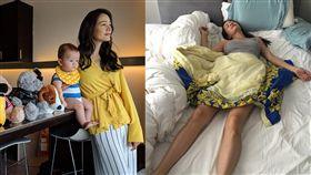 Janet(謝怡芬),睡姿,兒子Egan。(合成圖/翻攝自臉書)