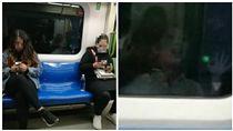 大陸天津輕軌9號線上車廂拍下靈異畫面(圖/翻攝自「爆廢公社公開版」臉書社團)