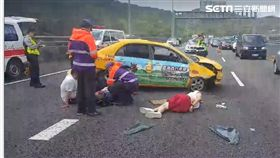 新北,國道,五楊高架,車禍,計程車(圖/翻攝畫面)
