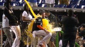 ▲馬林魚Rojas接受採訪時,隊友倒了整桶飲料。(圖/截自美國職棒官網影片)