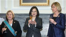 總統贈勳羅斯蕾緹能  舉杯道賀(1)總統蔡英文(中)2日在總統府,頒授美國聯邦眾議院外交委員會榮譽主席羅斯蕾緹能(Ileana Ros-Lehtinen)(左)「特種大綬卿雲勳章」,並舉杯道賀。中央社記者鄭傑文攝 107年4月2日