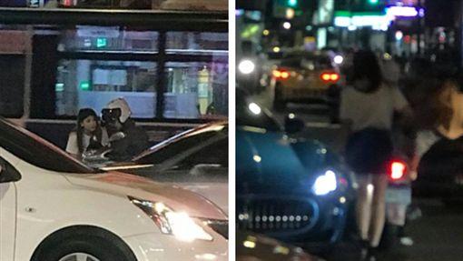 騎士擦撞三叉戟怒…瑪莎拉蒂「海神」正妹車主下車慰(圖/翻攝自爆廢公社)