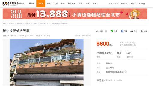 孫鵬位在北投進賢路的透天豪宅放上售屋網出售/翻攝自591售屋網站