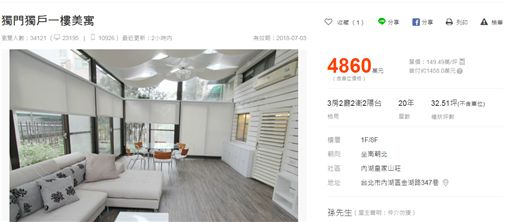 傳孫鵬再賣內湖獨棟房子/翻攝自591售屋網站