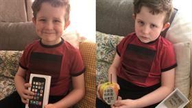 老爸送一支「蘋果手機」,兒子燦笑秒變臭臉。(圖/翻攝Daily Mail)