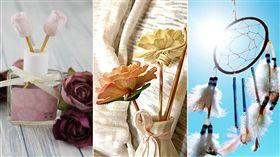香氛精油,乾燥花,捕夢網(合成圖/翻攝自巴黎香氛臉書;Pixabay)