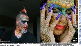 龍女砸160萬整型成爬蟲類 「分叉舌頭+綠眼珠」:我是跨物種者(圖/翻攝自Daily Mall )