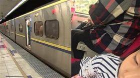 大媽坐在火車座位把手上/合成圖/資料照、爆怨公社