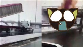 卡車,貨櫃,司機,加拿大,Montreal,天橋,油壓裝置,車斗,高速公路,車禍 圖/翻攝自YouTube https://goo.gl/8mXNHP