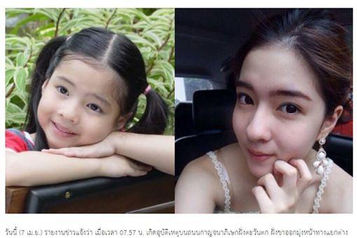 泰國20歲女星Inn(Natnicha Cherdchubupakari)車禍身亡(合成圖/翻攝自《泰國郵報》)