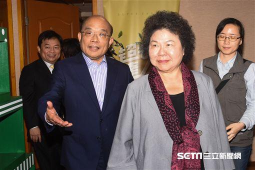 高雄市昂陳菊與前行政院長蘇貞昌見面。 圖/記者林敬旻攝