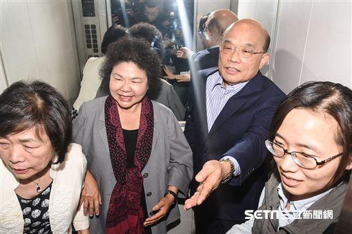 高雄市昂陳菊與前行政院長蘇貞昌見面。 圖/記者林敬旻攝 ID-1313488