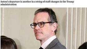 美國國安會發言人麥可.安東(Michael Anton)將離職(圖/翻攝自The Guardian)