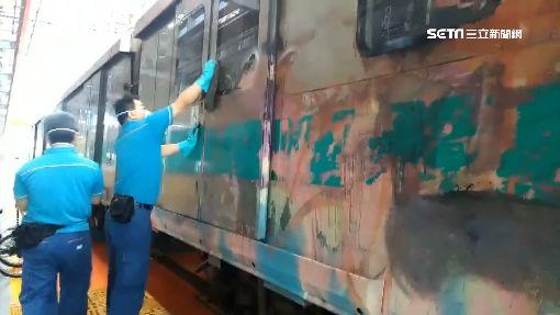 3怪客夜闖大寮機廠 塗鴉2節高捷車廂