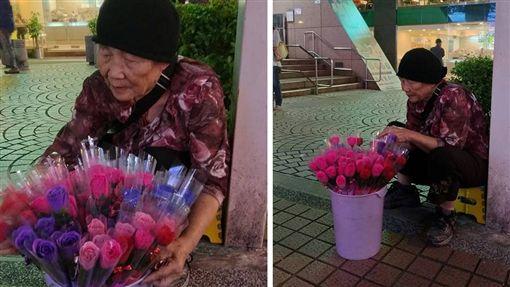 一名85歲的阿嬤為了扛起家計、養中風兒,在台北中山捷運站路邊賣花,只要有客人上前購買,她就會鞠躬道謝,嘴禮還不斷跟對方說「謝謝」。其他網友看到後,紛紛大推,希望用「心」台幣來幫助阿嬤。(圖/翻攝自爆料公社公開版)