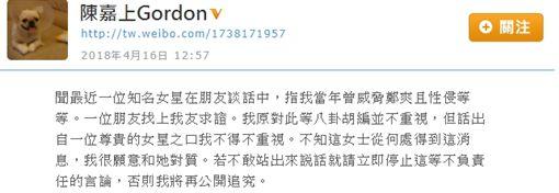 大陸女星被爆遭香港導演陳嘉上性侵。(圖/翻攝自微博)