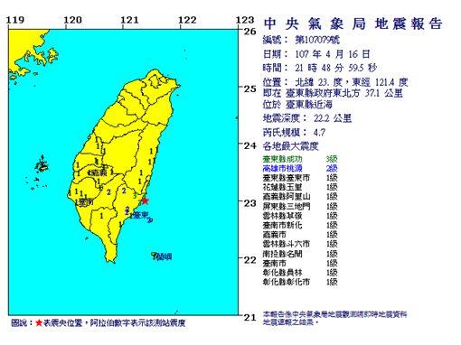 地震 圖/中央氣象局