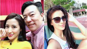 李蒨蓉跟老公。(合成圖/翻攝自微博)