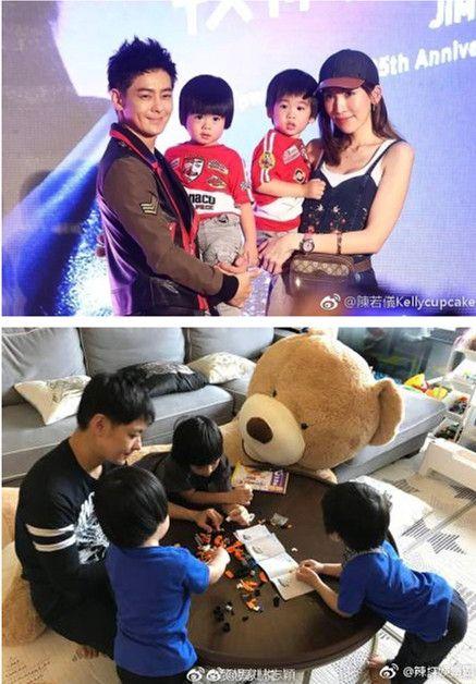 林志穎跟老婆陳若儀,8歲的兒子Kimi,2歲雙胞胎兒子Jenson及Kyson。(合成圖/翻攝自微博)