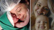巴西一名24歲媽媽布蘭達,3個月前生下一位萌娃,特別的是,小嬰兒竟主動伸手抱住媽媽的臉,讓布蘭達永生難忘。而這位萌娃娶名為阿嘉塔,近日她的萌照曝光,讓不少網友直呼「想生女兒!」(圖/翻攝自Brenda Coêlho臉書)