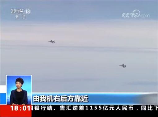 中共軍機,轟6K,台灣軍機F-16軍隼(圖/翻攝自央視)