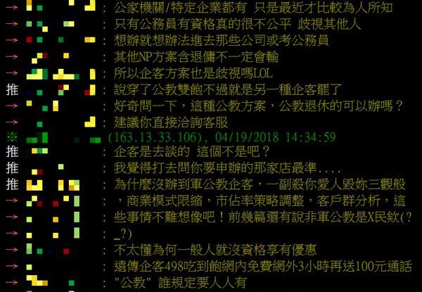 中華電信雙飽專案只限軍公教人員 網怒:老客戶跟屎一樣(圖/翻攝自PTT)