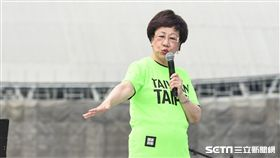 姚文智機蛋大遊行,前副總統呂秀蓮上台聲援。 (圖/記者林敬旻攝)