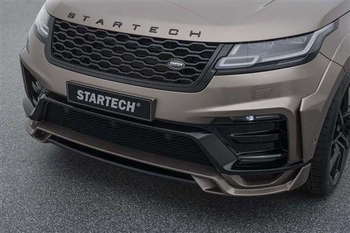 Startech寬體Range Rover Velar日內瓦車展首度亮相,細看你會發現兩側各有2條日行燈,鑲在層層分明的鈑件中,而這些鈑件都是貼合上去,無需切割原葉子板。(圖/車訊網)