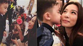 梁靜茹/4歲兒子親/田馥甄/臉頰。合成圖/翻攝自微博