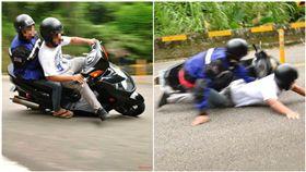 技術87分?騎車過彎…他耍帥硬要壓車 下秒慘摔趴地 圖/翻攝自爆廢公社臉書