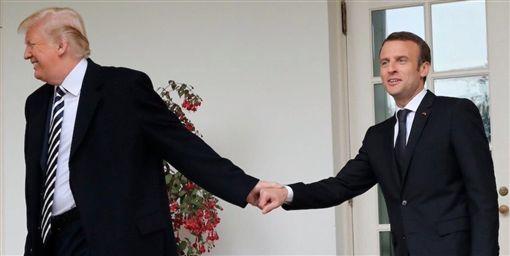 美國總統川普、法國總統馬克宏(圖/翻攝自推特)