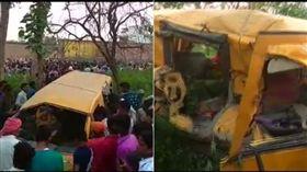 印度校車與火車相撞 13孩童喪命8傷(圖/取自推特)