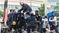 軍改案衝突 民眾爬立院外牆反年改團體八百壯士25日在立法院外集會抗議,下午發動攻勢拆拒馬和鐵馬護欄欲衝進立院,遭警方制止。中央社記者施宗暉攝 107年4月25日