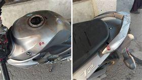 有一名男網友在台南永康工作,他將機車停在的公司停車場內,沒想到下班牽車時,發現整台車都是血,甚至還有血手痕。其他網友看到後,紛紛直呼「報警先!」(圖/翻攝自爆料公社)