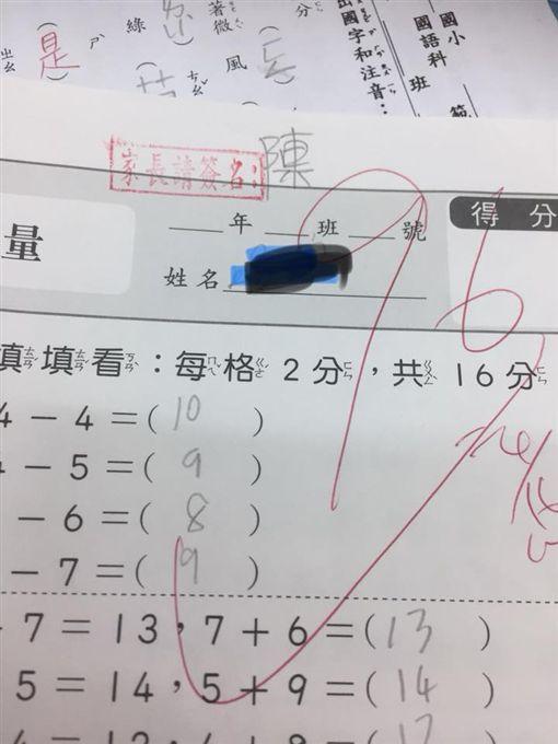 家長抱怨女兒小一就開始偽造簽名還寫錯字,引起網友回憶童年。(圖/翻攝爆怨公社)
