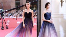 張鈞甯,莉莉柯林斯(Lily Collins),盜版禮服撞正版。(翻攝自微博)