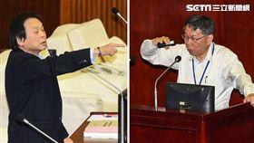 民進黨議員王世堅(左)、柯文哲,柯P(右)(組圖/記者林敬旻攝)