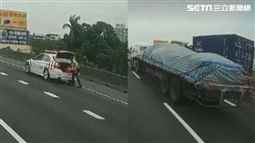 國道警處理事故 3聯結車「霸氣封道」護航!網感動哭了 合成圖/Wen Tsai授權提供